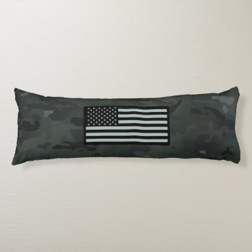 Black Camouflage Flag Body Pillow