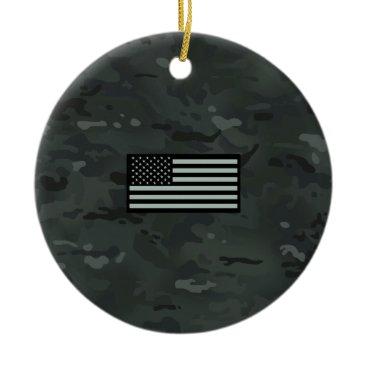 Black Camouflage Flag Ceramic Ornament