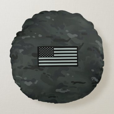 Black Camouflage Flag Round Pillow