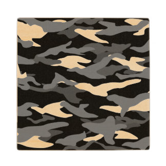 Black camouflage maple wood coaster
