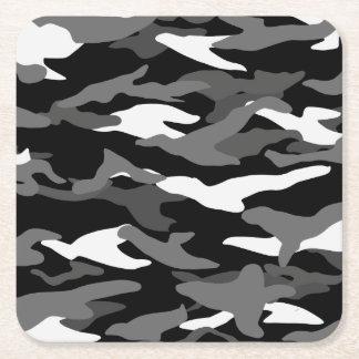 Black camouflage square paper coaster