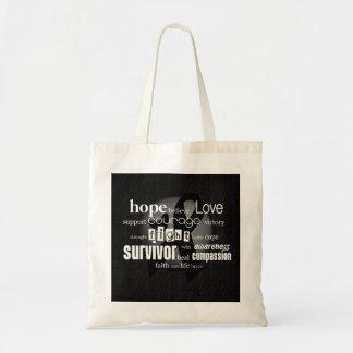 Black Cancer Awareness Tote Bag