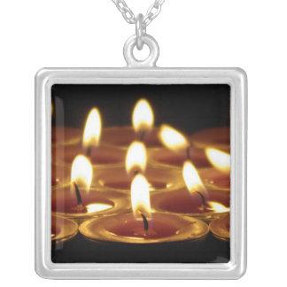 Black Candles Square Pendant Necklace