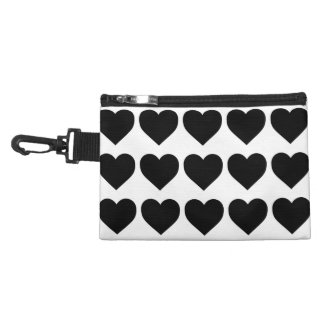 Black Candy Hearts on White Accessory Bag