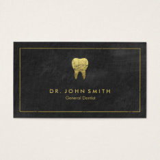 Black Canvas Golden Frame & Tooth -  Dentist Business Card at Zazzle
