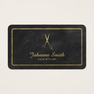 Black Canvas Golden Scissors Hairstylist Business Card