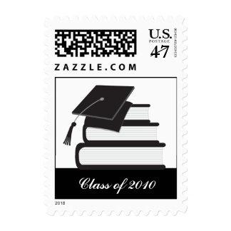 Black Cap and Books Graduation Postage