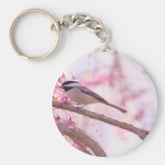 Black Cap Chickadee And Pink Weeping Willow Keychain