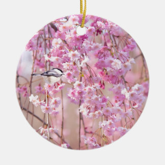 Black Cap Chickadee & Pink Weeping Willow Ceramic Ornament