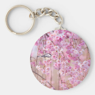 Black Cap Chickadee Pink Weeping Willow Keychains
