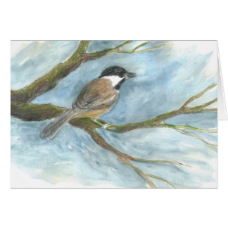 Black Capped Chick-a-Dee in Spring Greeting Card
