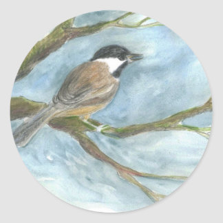 Black Capped Chick-a-Dee in Spring Classic Round Sticker