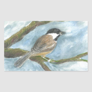 Black Capped Chick-a-Dee in Spring Rectangular Sticker