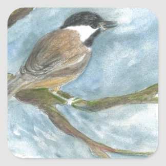 Black Capped Chick-a-Dee in Spring Square Sticker