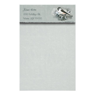 Black Capped Chickadee Bird Faux Parchment Top Stationery