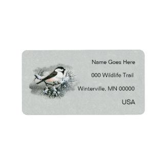 Black Capped Chickadee Bird Left Side Label