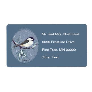 Black Capped Chickadee Bird Oval Darker Blue Label