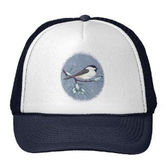 Black Capped Chickadee Bird Oval Trucker Hat