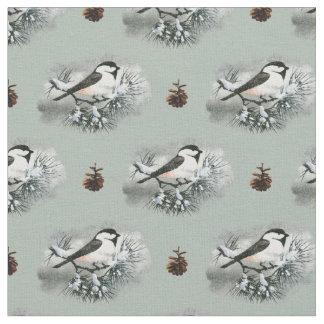 Black Capped Chickadee Bird Pinecones Fabric
