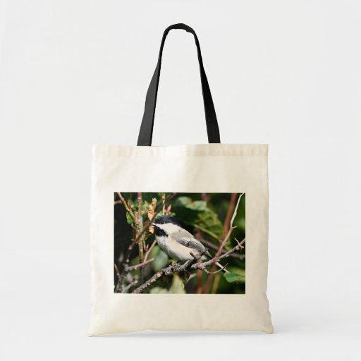 Black-capped chickadee budget tote bag