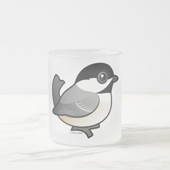 Black-capped Chickadee Frosted Glass Coffee Mug