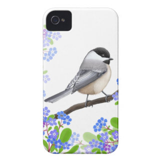 Black Capped Chickadee in Forget Me Nots iPhone 4 Cover