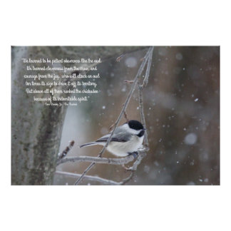 Black Capped Chickadee in Snow - Removable Text Poster