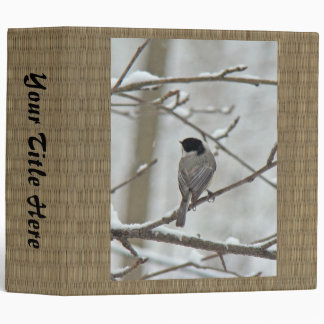 Black-Capped Chickadee in Snow Storm 3 Ring Binder