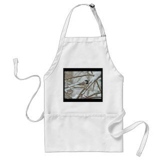 Black-Capped Chickadee in Snow Storm Adult Apron