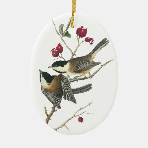 Black-capped Chickadee, John Audubon Double-Sided Oval Ceramic Christmas Ornament