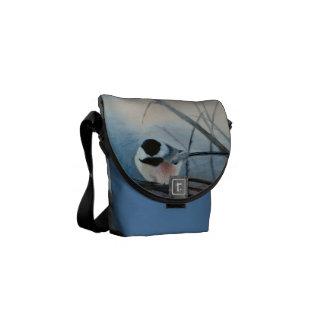 Black Capped Chickadee Mini Messenger Bag