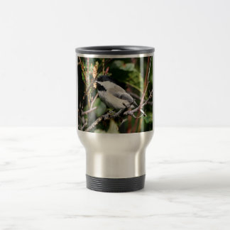 Black-capped chickadee 15 oz stainless steel travel mug