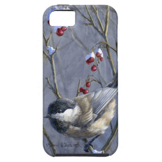 Black Capped Chickadee Winter Red Berries and Snow iPhone SE/5/5s Case