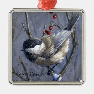 Black Capped Chickadee Winter Red Berries and Snow Metal Ornament