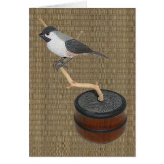 Black-Capped Chickadee Woodcarving Note Card