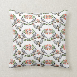 Black Capped Chickadees in Berry Branches Pillow