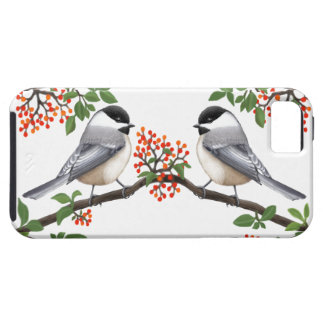 Black Capped Chickadees in Red Berry Bush iPhone SE/5/5s Case