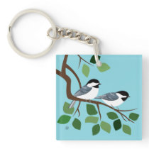 Black Capped Chickadees Keychains