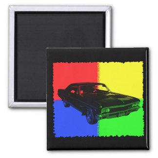 Black Car 2 Inch Square Magnet