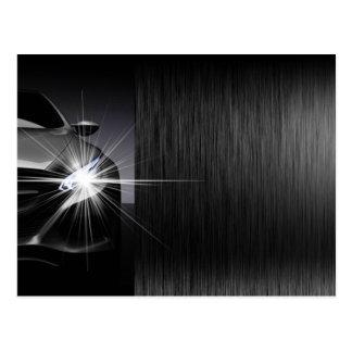 Black Car Automotive Company Metal Design Postcard