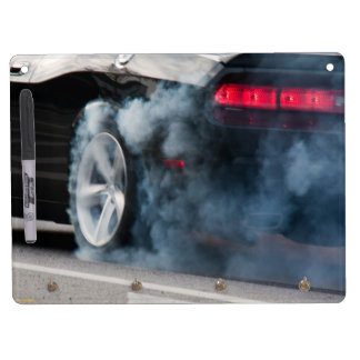 Black car burnout dry erase whiteboard