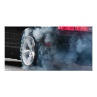 Black car burnout photo cards