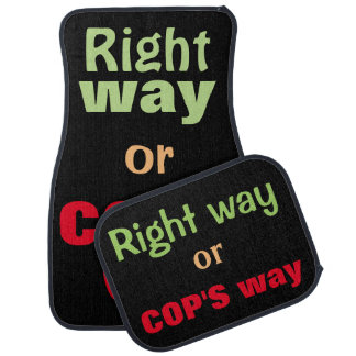 Black car mats for drivers to choose which way.