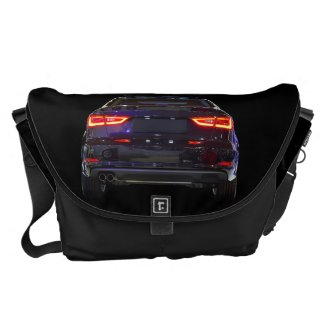 black car, red lights messenger bag