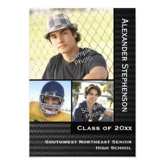 Black Carbon Fiber 3 Photo Boys Graduation Card