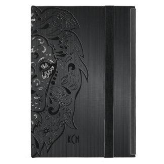 Black Carbon Fiber & Lion Sugar Skull Cover For iPad Mini
