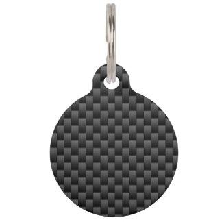 Black Carbon Fiber Style Print Background Pet Name Tag