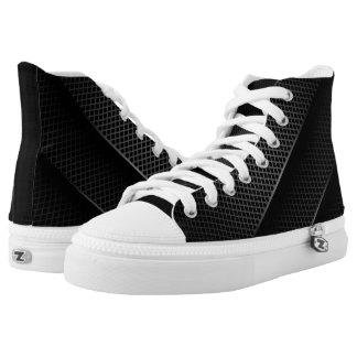 Black Carbon Mesh High-Top Sneakers