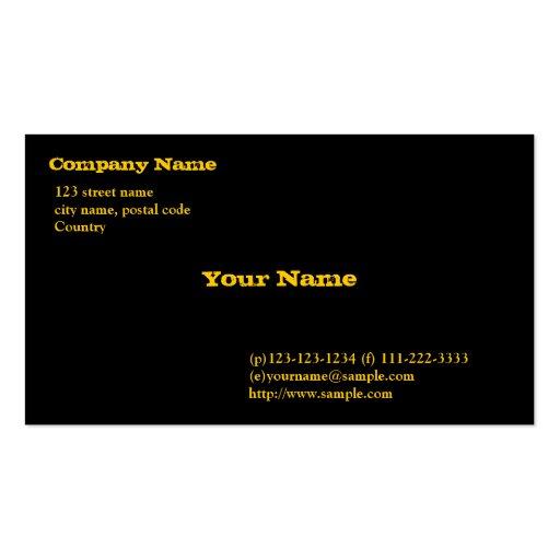 black card, gold fonts business card