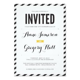 "Black Carnival Stripes Modern Wedding Invitation 5"" X 7"" Invitation Card"